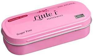 Little i Gum Intense Gum Flip Top Tin With Mirror, Sugar Free Peppermint, 1-Ounce Tins (Pack of 12)
