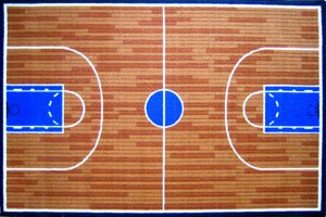 Basketball Court Children Area Rug, funtime collection, 4'x5'.