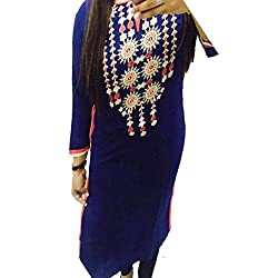 ZHot Fahion Woman Embroidered semi-stitched Selfie Kurti In Georgette Fabric (ZHKRT1020_Free Size_Blue)