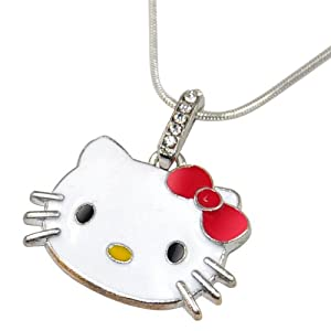 World Pride Kitty Face White Glazed Pendant Snake Chain Necklace Red Bow Tie
