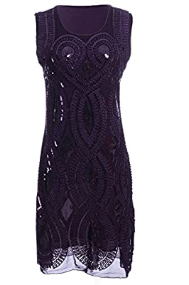 Vijiv Women's Fit Heart and Wrap Sequin Embellishments Dress