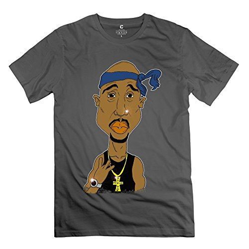 Popular 2pac Tupac Necklace Cross Watch Men's T Shirt DeepHeather