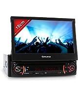 Auna MVD-240 - Autoradio multimedia avec ecran retractable 18cm et lecteur DVD, ports USB/SD et Bluetooth avec fonction kit mains-libres (tuner FM/AM, telecommande)
