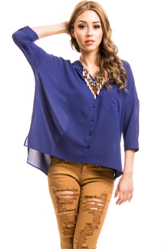 Painter's Smock Blouse in Navy