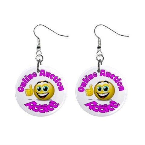 Online Auction Addict Novelty Dangle Button Earrings