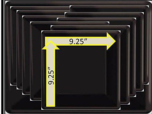 "Black 9"" Square Plates"