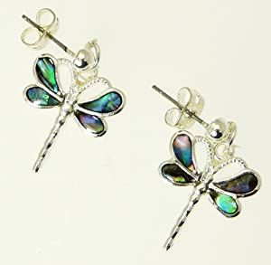 Beautiful Natural Abalone Paua Shell Dragonfly Earrings In Gift Box - A