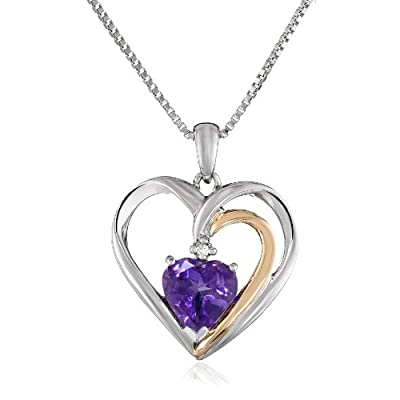 "XPY Sterling Silver and 14k Yellow Gold Amethyst and Diamond-Accent Heart Framed Pendant Necklace, 18"": Jewelry"