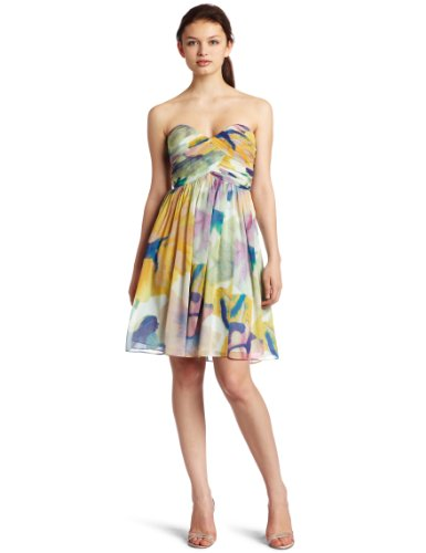 Donna Morgan Women's Strapless Bustier Chiffon Dress, Yellow Multi, 6