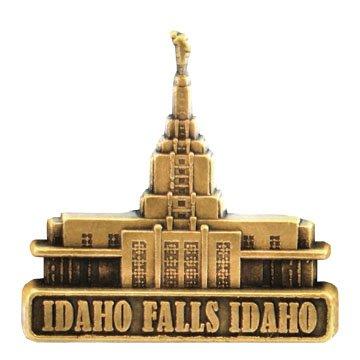 LDS Mens Idaho Falls Idaho Temple Gold Steel Tie Tac / Tie Pin for Boys
