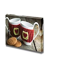 Amazon.com: Canvas Prints Wall Art - Knitted Woolen Cups on a Wooden