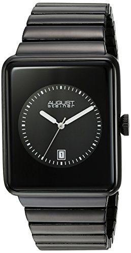 August Steiner Men's Japanese Quartz Watch with Black Dial Analogue Display and Black Alloy Bracelet AS8181BK
