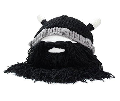 Inverno caldo uomini donne bambini maglia barba baffi Bue Corno Viking Crochet Beanie antivento maschera sci cappelli cappello , black beard