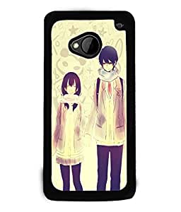 Fuson Love Couple Back Case Cover for HTC ONE M7 - D3686