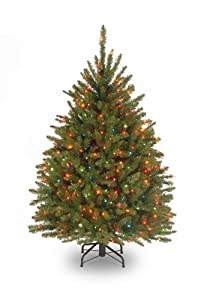 #!Cheap National Tree 4 1/2' Dunhill Fir Tree, Hinged, 450 Multi-Colored Lights (DUH-45RLO)