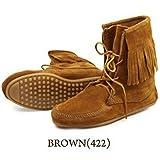 ミネトンカ(MINNETONKA) アンクルハイ フリンジブーツ ブラウン Ankle Hi Tramper Boot 6(22.5-23.0)