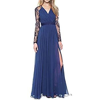 Merope J Women's Casual Deep- V Neck Sleeveless Vintage Maxi Dress