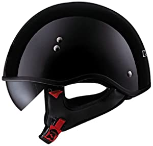 "LS2 Helmets HH566 ""A"" Half Helmet with Sun Visor (Solid Gloss Black, Large)"