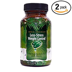 Irwin Naturals Bioperine Enhanced Less-Stress Weight Control Dietary Supplement, 75-Liquid Gel Caps (Pack of 2)