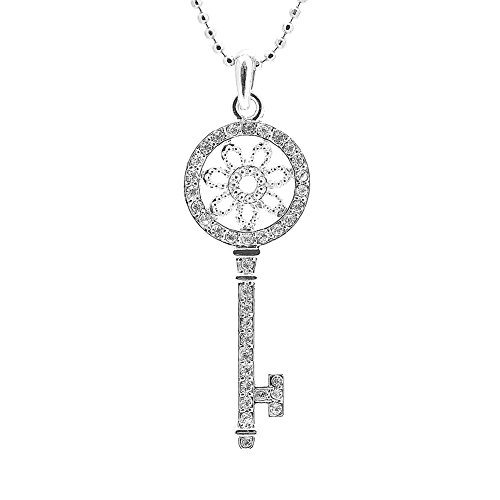 Silver Plated Tiffany Style Floral Round Key Charm with Chain