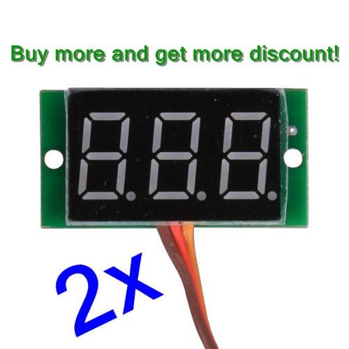 "Nextrox® 2Pcs Mini Diy 0.36 "" Three-Wires Led Digital Voltmeter Voltage Panel Meter 0-99V (Color:Blue)"