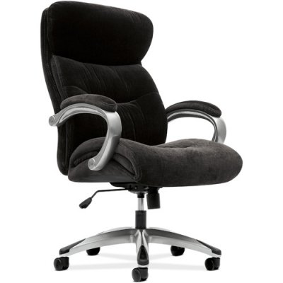 HON VL402 Executive High-Back Chair with Loop Arms for Office or Computer Desk, Black