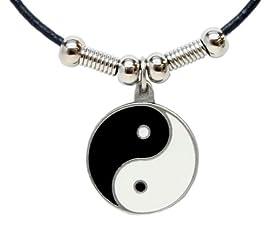 Yin Yang Pendant - Beaded Black Leather Necklace
