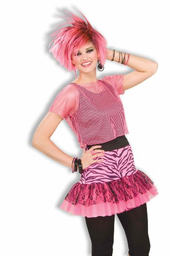 Woman's 80s Pop Party Zebra Print  Skirt, Pink/black,