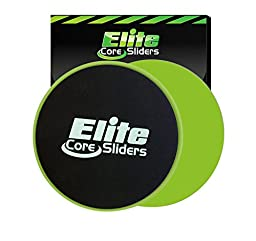 Elite Core Workout Exercise Sliders - Set of 2 Gliding Discs - Dual Sided for Carpet or Hard Floors - Green