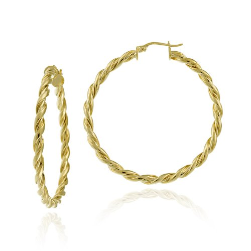 18k Yellow Gold Plated Sterling Silver 3x40 Twist Clicktop Hoop Earrings