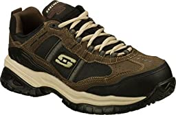Skechers for Work Men\'s Soft Stride Grinnel Slip Resistant Work Shoe,Brown/Black,12 M US
