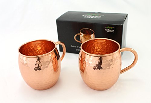 Set of Two 16 Oz Copper Mugs   100% Pure Copper Handcrafted into the Perfect Hammered Barrel Style Moscow Mule Cup by Trifecta Barware