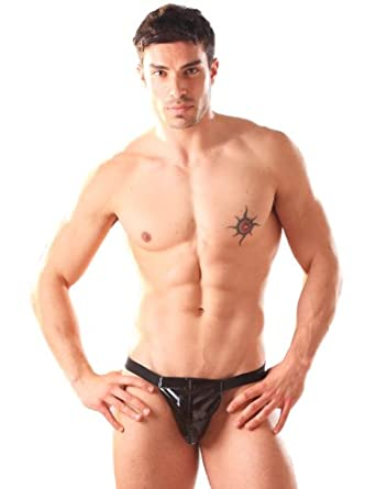 PVC Male Pouch Mens Briefs Underwear for Men - Black One Size - Sexy & Fetish - One Size