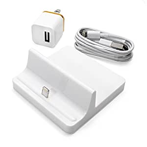 Alpha-x Enhanced Iphone Charger Docking Station+ AC Charger + Lightning Cable Cradle Charging Sync Dock Station for Apple Iphone 6 Plus 6 5 5s 5c (White IP Station Set)