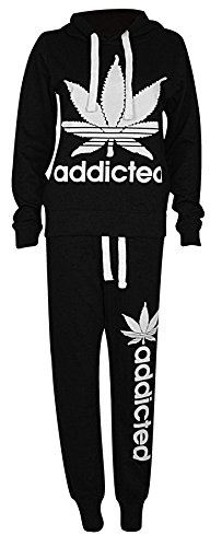 Womens Ladies Addicted Logo Hooded Tracksuit