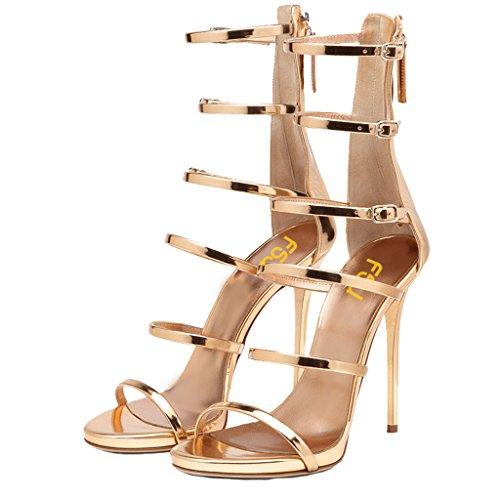 FSJ Women Hollow-out Sandals Open Toe Pumps High Heels Shoes Strappy Buckle Stilettos Size 13