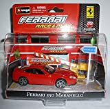 Race and play red ferrari 550 maranello with sign scene set 1.43 scale diecast model