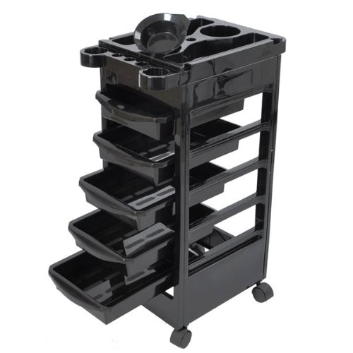 Hair Salon Rolling Trolley Storage Cart w/ 5-Drawer Workstation