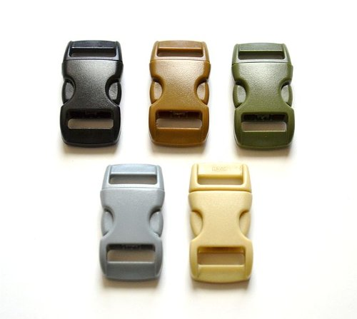 """25 - 3/8"""" Military Color Pack Side Release Buckles (5 Each) For Paracord Bracelets"""
