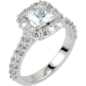 1.40CT Halo Accent Diamond Ring 14K White Gold