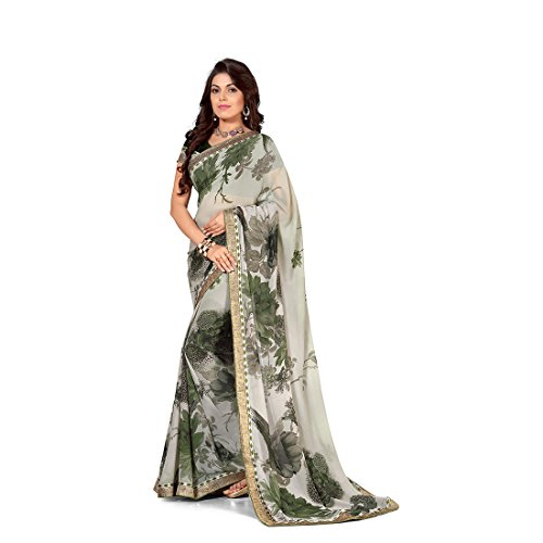Anusha Multi Color Georgette Self Printed With Attached Border Saree - B01546LKRG
