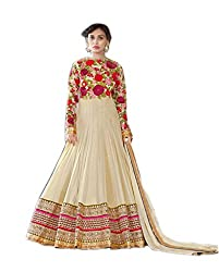 Shoppingover Indian Ethanic Anarkali Suit Georgette Fabric-Beige Color