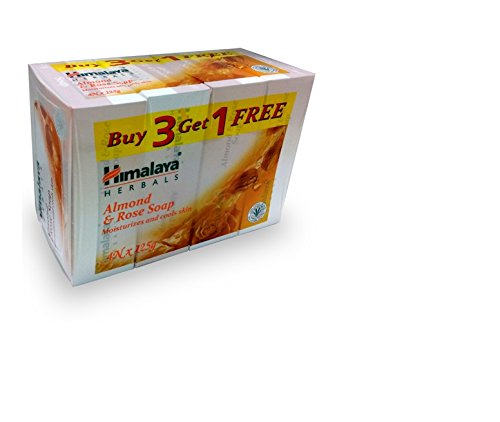 Himalaya Almond and Rose Soap, 125g (Buy 3 Get 1 Free)