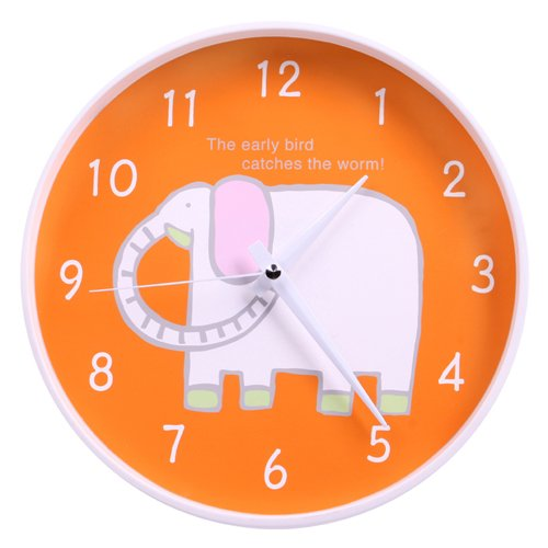 White Elephant Non-Ticking Silent Wall Clock (Orange)