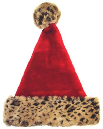 "18"" Wild Red Christmas Santa Hat with Leopard Print Trim - Adult Size"