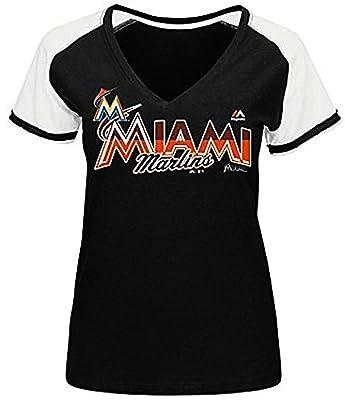 Miami Marlins MLB Majestic Winners Circle Womens Black Shirt Plus Sizes