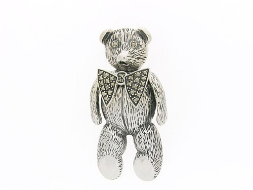 925 Sterling Silver Marcasite Teddy Bear Brooch