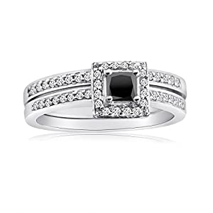 10K Gold 1/2CTTW Black and White Diamond Halo Bridal Ring Set