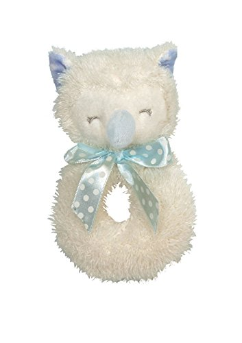 Stephan Baby Sleepy Owl Cuddle Soft Plush Ring Rattle, Blue