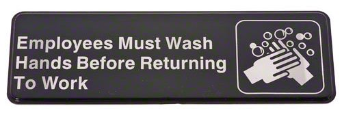 Update International S39-25Bk Sign Board, Employees Must Wash Hands Before Returning To Work, White On Black